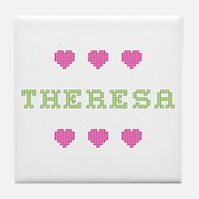 Theresa Cross Stitch Tile Coaster