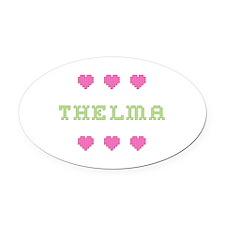 Thelma Cross Stitch Oval Car Magnet