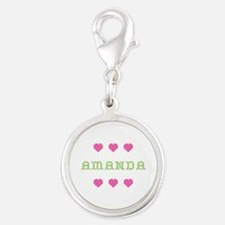 Amanda Cross Stitch Silver Round Charm