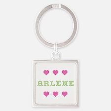 Arlene Cross Stitch Square Keychain