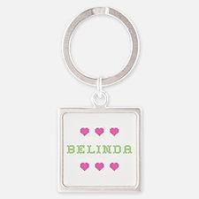 Belinda Cross Stitch Square Keychain