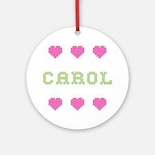 Carol Cross Stitch Round Ornament
