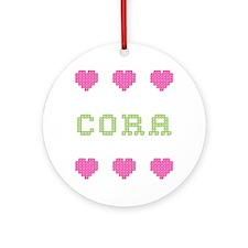 Cora Cross Stitch Round Ornament