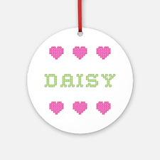 Daisy Cross Stitch Round Ornament