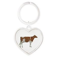 Guernsey Milk Cow Heart Keychain