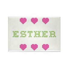 Esther Cross Stitch Rectangle Magnet