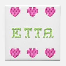 Etta Cross Stitch Tile Coaster
