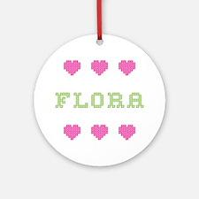 Flora Cross Stitch Round Ornament