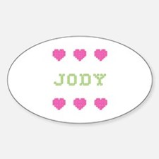 Jody Cross Stitch Oval Decal