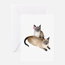 Siamese Sister Kittens Greeting Card