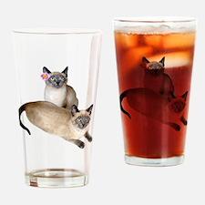 Siamese Sister Kittens Drinking Glass