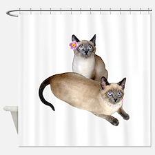 Siamese Sister Kittens Shower Curtain