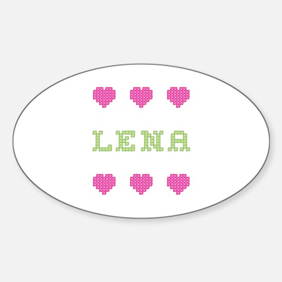 Lena Cross Stitch Oval Decal