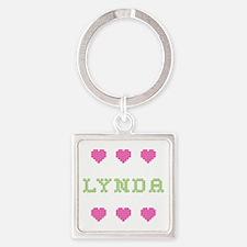 Lynda Cross Stitch Square Keychain