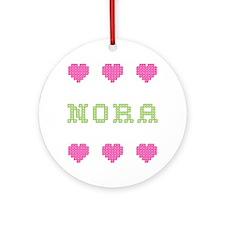 Nora Cross Stitch Round Ornament