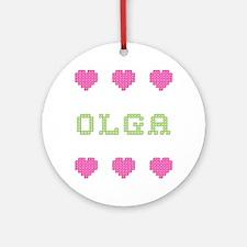 Olga Cross Stitch Round Ornament
