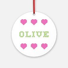 Olive Cross Stitch Round Ornament