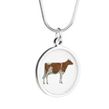 Guernsey Milk Cow Silver Round Necklace