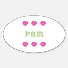 Pam Cross Stitch Oval Decal