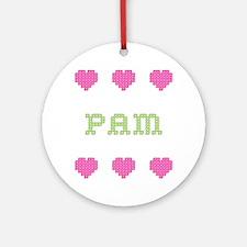 Pam Cross Stitch Round Ornament