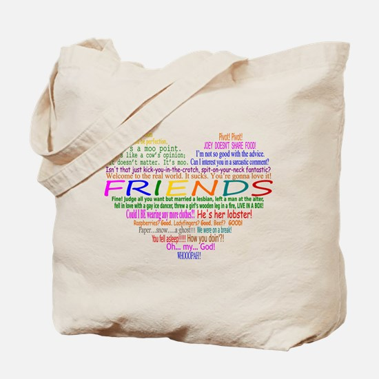 FriendsTVQuotesHeart Tote Bag