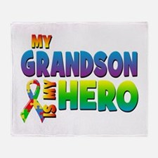 My Grandson Is My Hero Throw Blanket