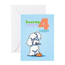 Kids Birthday 4 Poodle Greeting Card