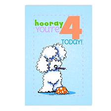 Kids Birthday 4 Poodle Postcards (Package of 8)