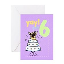 Kids Birthday Age 6 Pug Greeting Card