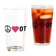 OT Advocate Peace, Love, OT Drinking Glass