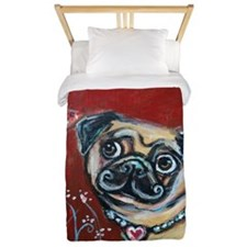 Pug eyes butterfly Twin Duvet