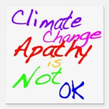 Climate Change Apathy is Not OK Square Car Magnet