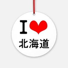 I Love Hokkaido Ornament (Round)