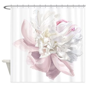 Elegant White Peony Shower Curtain
