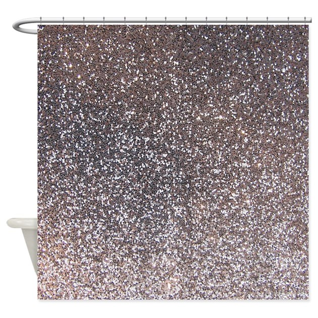 Faux Silver Glitter Texture Shower Curtain Matte By