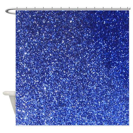 faux blue glitter texture shower curtain matte by