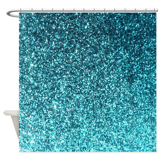 Teal Faux Glitter Texture Shower Curtain Matte By