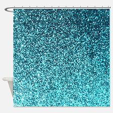 Teal faux glitter texture shower curtain (matte)