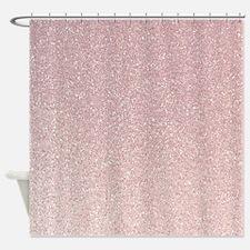 light pink faux glitter texture shower curtain