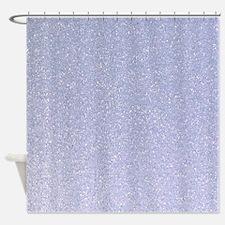 light blue faux glitter texture shower curtain