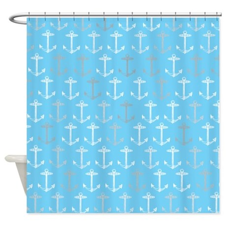 light blue nautical anchor pattern shower curtain by inspirationzstore