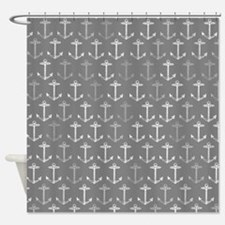 Gray nautical anchor pattern Shower Curtain