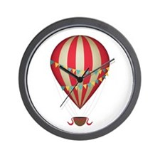 Hot air balloon red Wall Clock