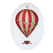 Hot air balloon red Ornament (Oval)
