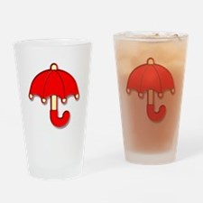 Red Umbrella Badge Drinking Glass