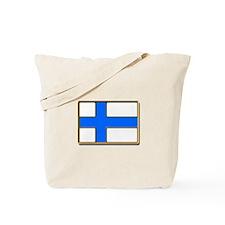 Flag of Finland Badge Tote Bag