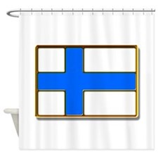 Flag of Finland Badge Shower Curtain
