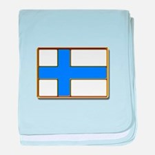 Flag of Finland Badge baby blanket