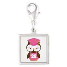 2028 Owl Graduate Class Silver Square Charm