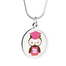 2031 Owl Graduate Class Silver Round Necklace